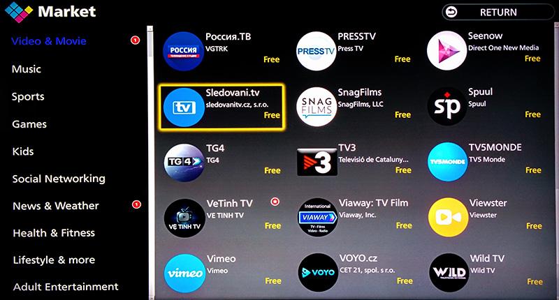a5e9f0ef1 Zvolte kategorii Video & Movie a poté najděte aplikaci Sledovani.tv