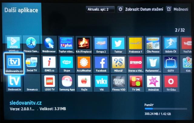 72a5aa2f7 Aplikace se nyní nachází na Smart Hubu na obrazovce Další aplikace.